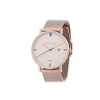 James Beard Belize ivory mesh white wrist watch mens Rosé gold mens watch Mesh Bracelet