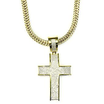 18k Gold Plated CZ Cross Pendant with Flat Franco 2.4mm Box Chain