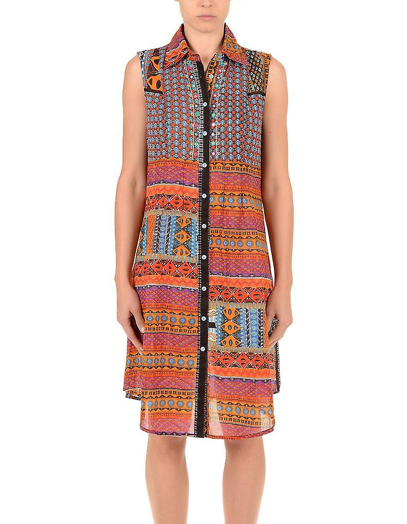 Iconique IC7-026 Women's Orange Aztec Camisole Beach Dress