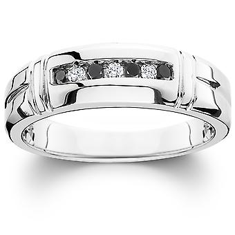 1/3ct Black & White Diamond Mens Wedding Ring 10K White Gold