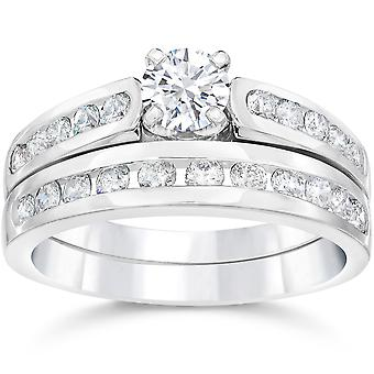 1.40CT Diamond Engagement Wedding Ring Set 14K White Gold
