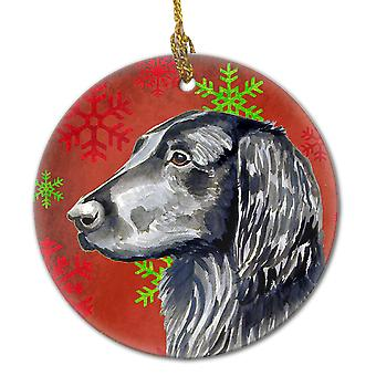 Flat Coated Retriever Red Snowflake Holiday Christmas Ceramic Ornament LH9321