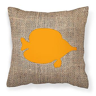 Fish - Tang Fish Burlap and Orange   Canvas Fabric Decorative Pillow BB1023