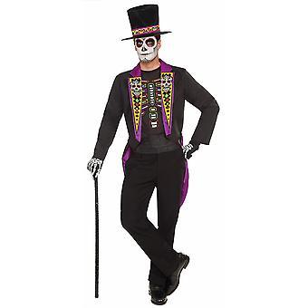 Dag af de døde formelle smoking passer til mexicanske skelet spanske Herre kostume Plus