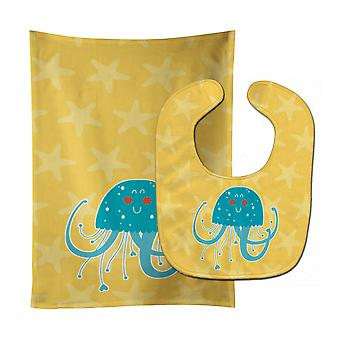 Carolines Treasures  BB6767STBU Jellyfish Baby Bib & Burp Cloth