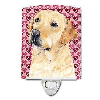 Labrador gelben Herzen Liebe Valentinstag Keramik Nachtlicht