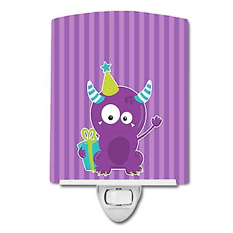 Carolines Treasures  BB8936CNL Birthday Monster Purple Ceramic Night Light