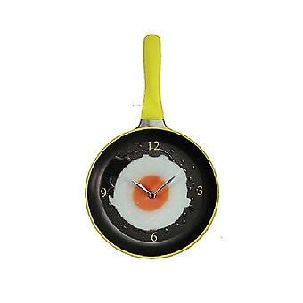 Wall clock skillet with fried-green