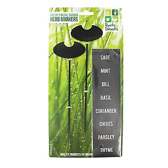 Roots & Shoots Set Of 2 Metal Garden Herb Makers With Stickers