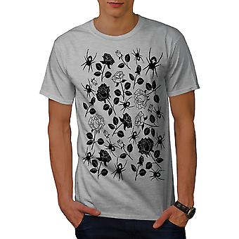 Spider Rose Nature Men GreyT-shirt | Wellcoda