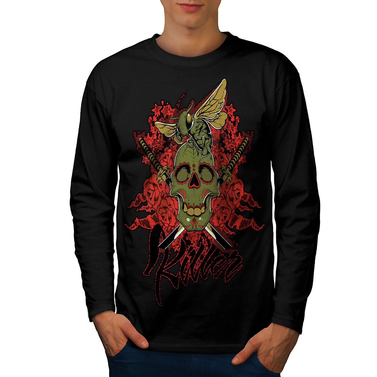 Killer Rose bugg skalle män Svart långärmad T-shirt | Wellcoda