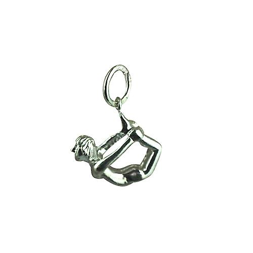 Silver 13x15mm Bow Pose Yoga Position Pendant or Charm