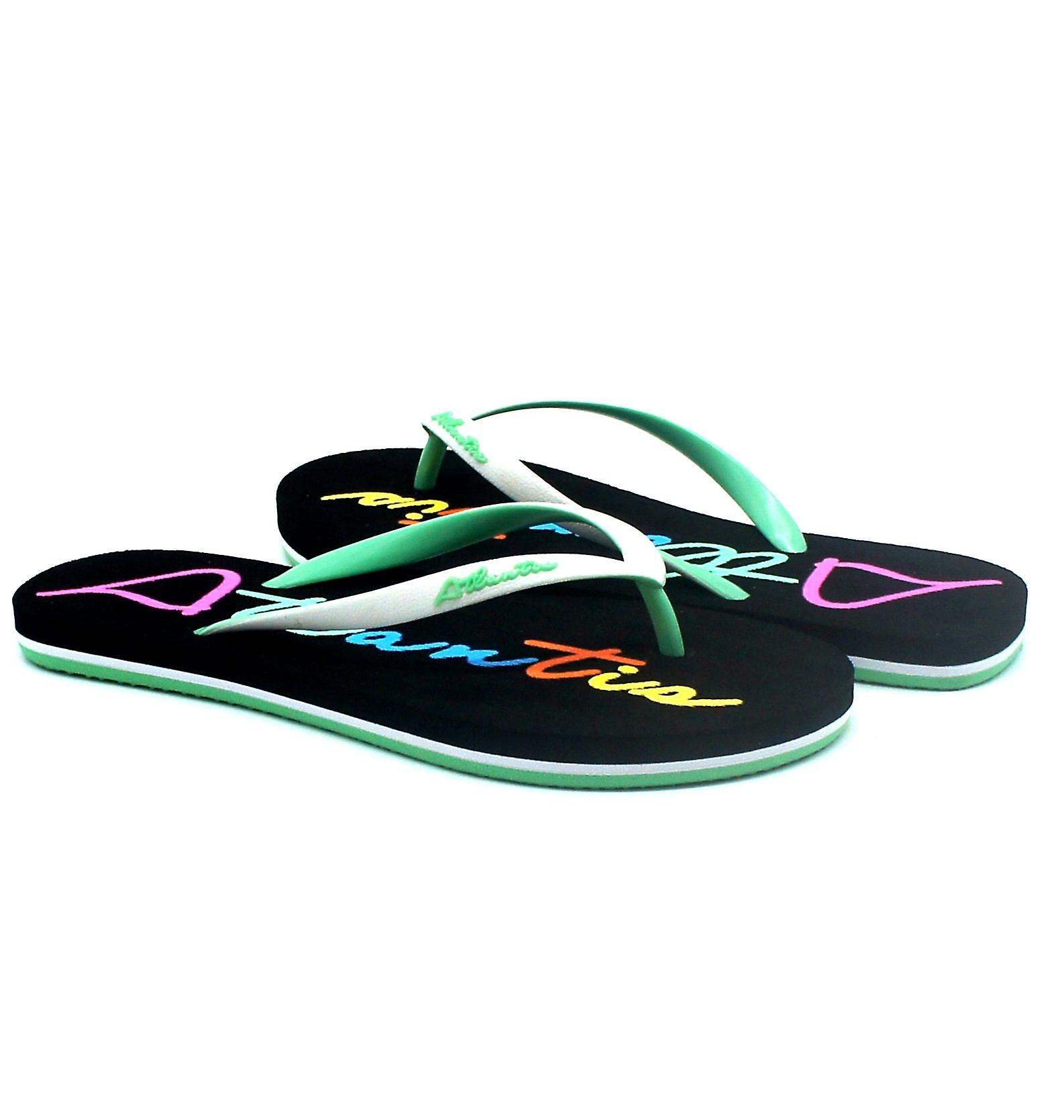 Atlantis Shoes Women Supportive Cushioned Comfortable Sandals Flip Flops Big Logo Black