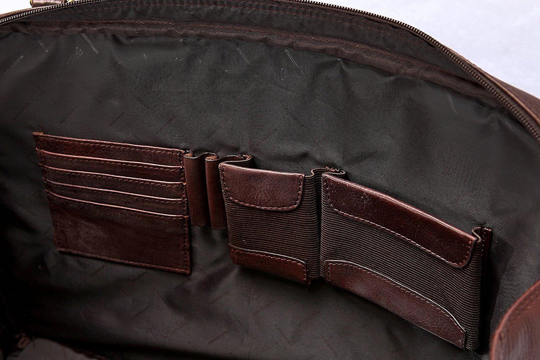Leather Business Briefcase Bag With Organizer Ladies Shoulder Strap Work Case (Black)