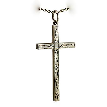 9ct Gold 34x18mm hand engraved solid block Cross with a cable Chain 16 inches Only Suitable for Children