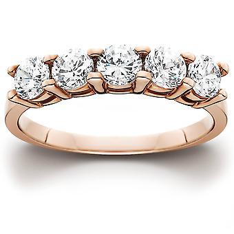 1,25 CT 5 sten diamant Ring 14K Rose Gold