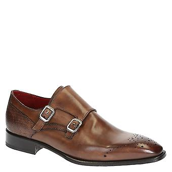 Handmade men's double monk strap shoes in brandy color
