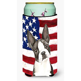 Patriotic USA Boston Terrier Tall Boy Beverage Insulator Hugger