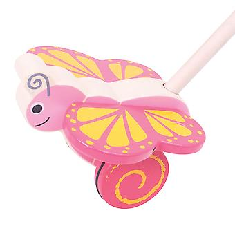 Bigjigs Toys Wooden Butterfly Push Along Walker Walking Mobility Baby Toddler