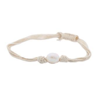 Misaki ladies bracelet white textile Pearl QCUBWAVE