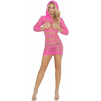Vivace EM-8005 Hooded open bust mini dress with 34 sleeves