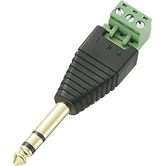 Conrad Components LT-PJ-6.35 6.35 mm audio jack Plug, straight Number of pins: 3 Stereo Black 1 pc(s)