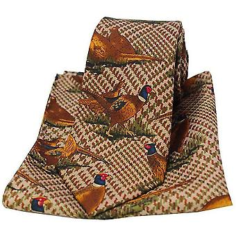 David Van Hagen Pheasants Tie and Pocket Square Set - Brown