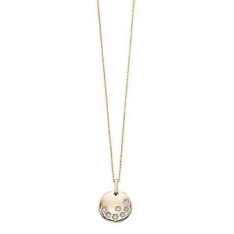 Elements Gold Diamond Star Disc Pendant - Gold/Clear
