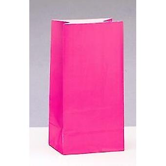 SALE - 12 Hot Pink Paper Party Bags | Kids Party Loot Bags
