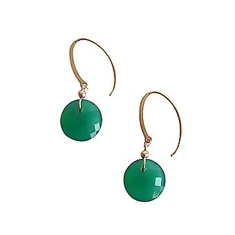 Gemshine - ladies - earrings - gold plated - faceted Onyx - Green - - 2 cm