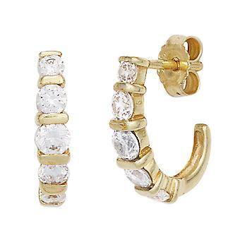 Hoops Halbcreolen 333 gold yellow gold with 10 cubic zirconia earrings gold earrings gold