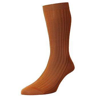 Pantherella Danvers Cotton Lisle Socks - Cumin Orange