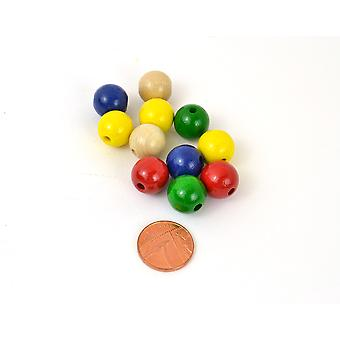 14mm Bright Assorted Wooden Threading Beads - 18pk | Childrens Craft Beads