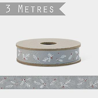 East of India Grey Berry Christmas RIBBON  x 3m Xmas Craft Wrap