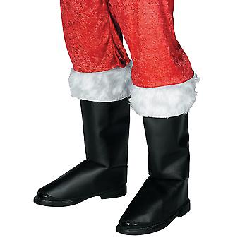 Santa Claus Deluxe Mock Leather Fur Trim Christmas Mens Costume Boot Tops