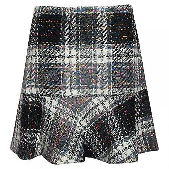 Oui Trumpet Cut Tweed Checked Skirt