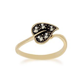 Gemondo giallo oro placcato argento Marcasite foglia Design anello