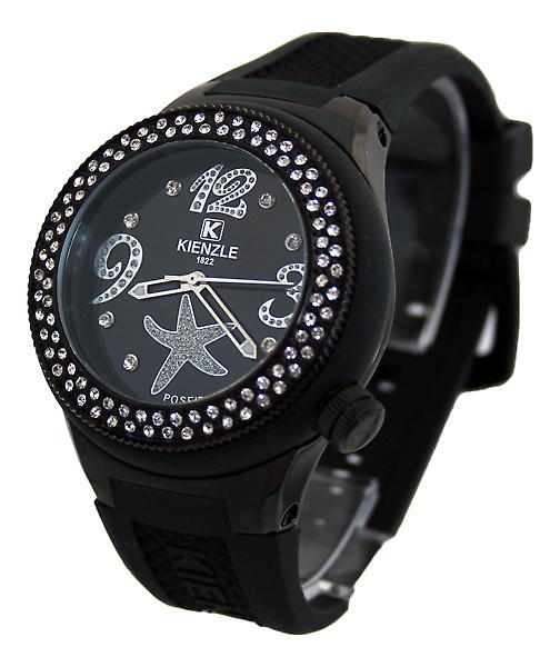 Waooh - 720 3060 Kienzle Watch for Women - Black Silicone Bracelet - Black Dial - Black Box - Black Bezel with rhinestone