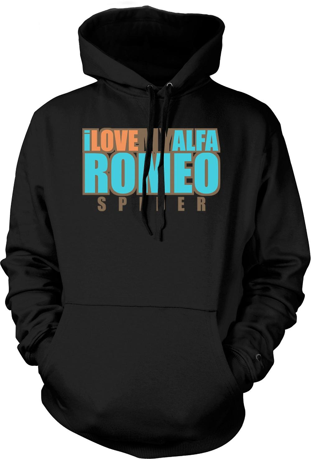 Mens Hoodie - I love my Alfa Romeo Spider - Car Enthusiast
