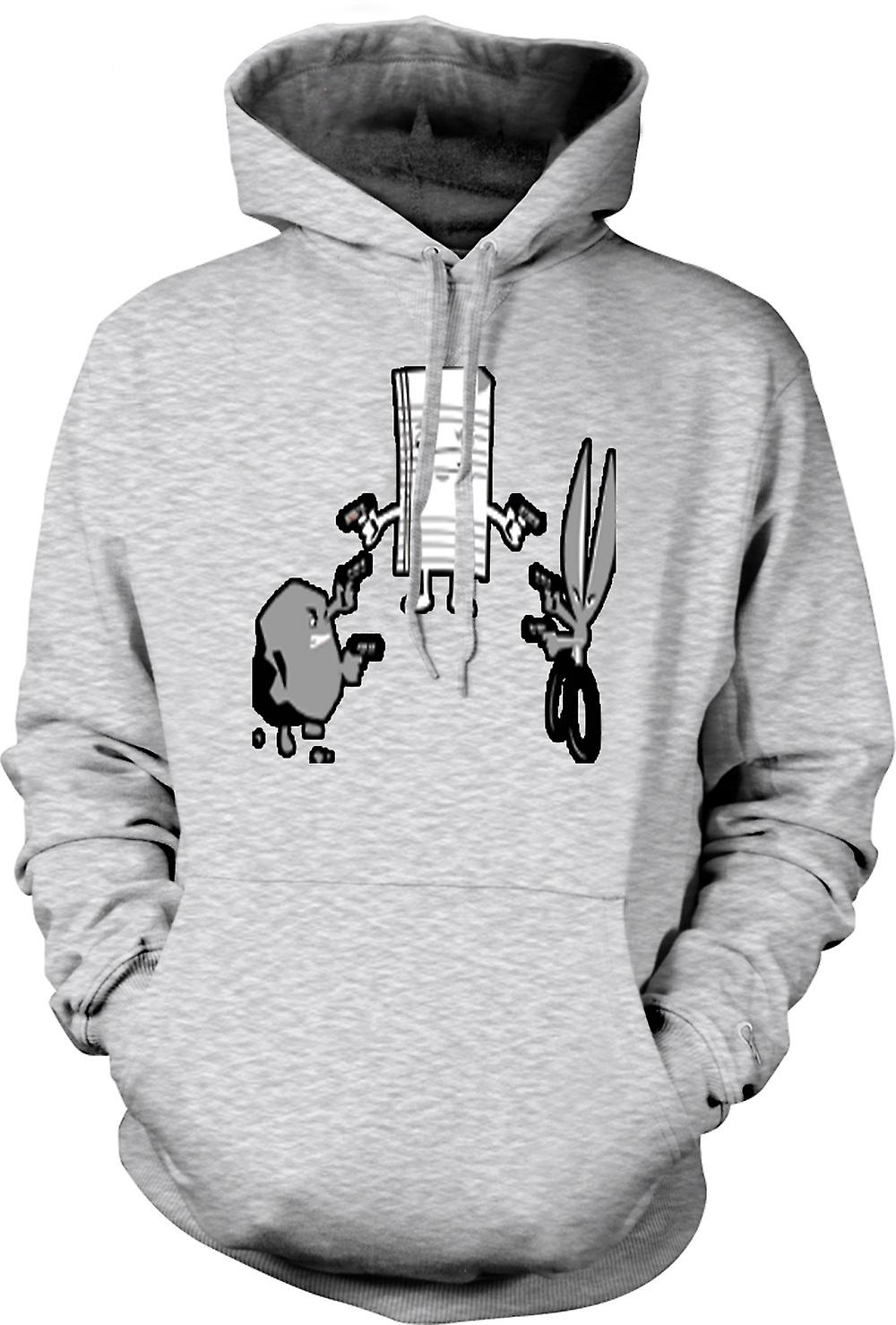 Mens Hoodie - Rock Paper Scissors Shoot - Out