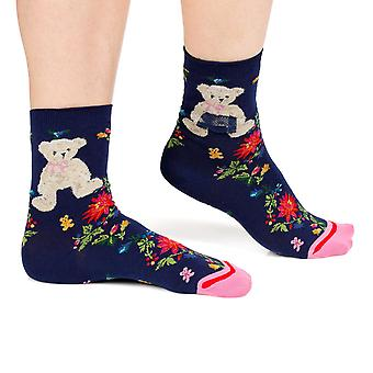Teddy Bear women's crazy floral ankle socks in marine | By Fil de Jour