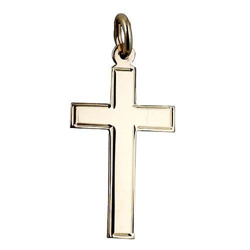 9ct Gold 25x15mm engine turned line border flat latin Cross