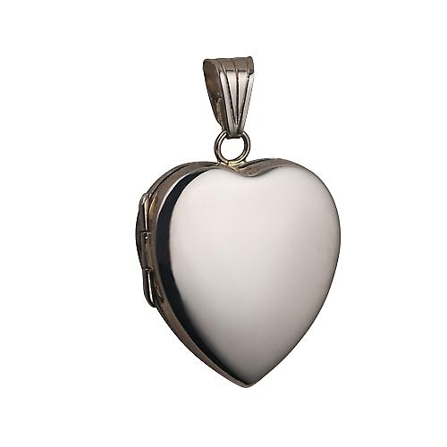 18ct White Gold 24x20mm plain heart shaped Locket