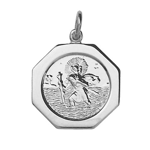 Silver 21x21mm hexagonal St Christopher Pendant