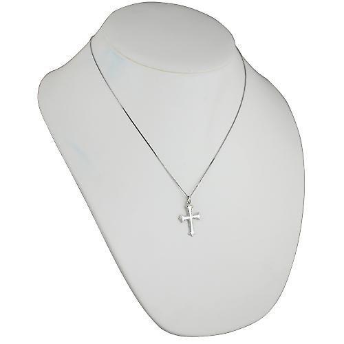 9ct White Gold 26x19mm plain with embossed border Cross with a curb Chain 20 inches