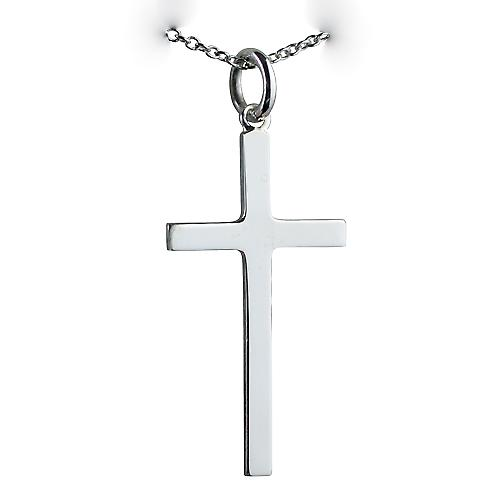 Silver 30x17mm plain solid block Cross with a rolo Chain 18 inches