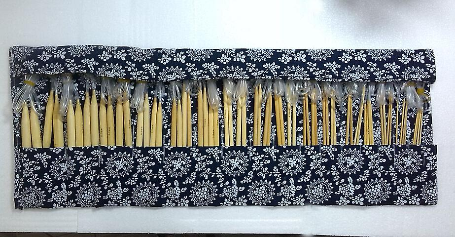 16 Pairs/32pcs of 40cm Bamboo Circular Knitting Needles with Case (2mm-12mm) Pointed - Crochet