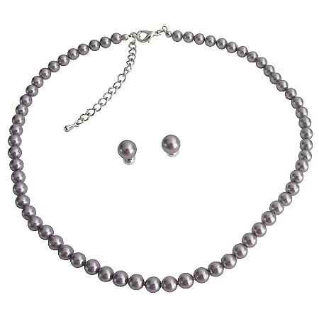Mauve Purple Jewelry Set Graduation Pearl Necklace & Stud Earrings