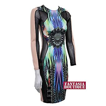 New Ladies Long Sleeve Mesh Insert Trance Print Women's Bodycon Dress