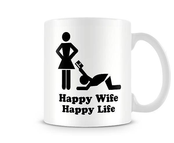 Decorative Writing Happy Wife Happy Life Mug